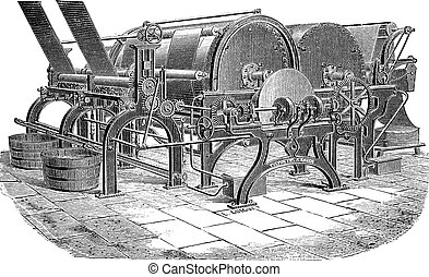 Paper Machine with Drying Cylinders, vintage engraving