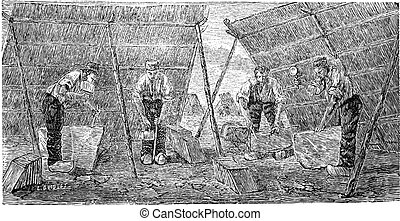 Workers Making Marble Tiles, vintage engraving - Workers...