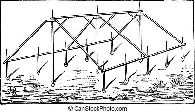 Iron Frame of a Tent, vintage engraving