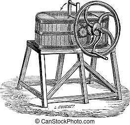 Rowan Butter Churn, vintage engraving - Rowan Butter Churn,...