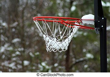 snow covered basketball hoop MACRO - A great close up image,...