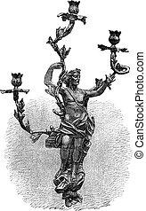 Branched Candelabra, vintage engraving - Branched Candelabra...