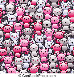Seamless pattern with cute kawaii doodle cats