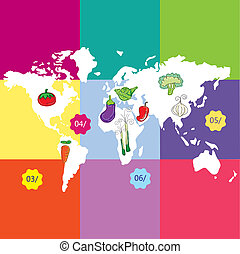 Earth, planet and nature icons colorful concets. Vector...