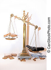 drug culture - an antique scales against a white background...