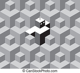 Retro robot is hiding between the isometric cubes - seamless...