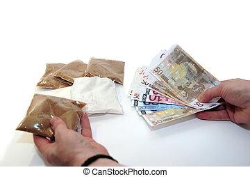 drug culture - a concept image of a drug deal in progress
