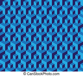 Seamless blue cubes pattern - illustration