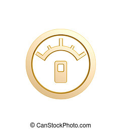golden oil meter symbol isolated on white background