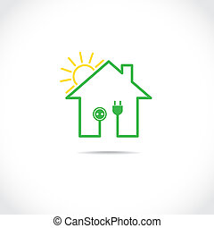 House symbol as simple solar electricity circuit -...