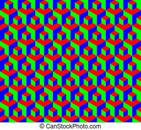 Seamless RGB cubes pattern - illustration
