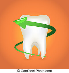 An arrow around the tooth - illustration