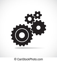 black cogs gears on light background