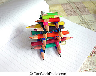 Various small crayons - multicolored various small crayons...