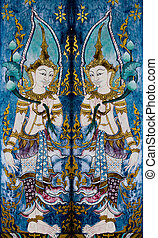 The Painting of deva on wall in the temple.This is traditional and generic style in Thailand. No any trademark or restrict matter in this photo.