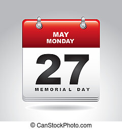 memorial day calendar over gray background vector...