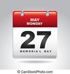 memorial day calendar over gray background. vector...