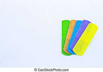 Color Fun Bandages - Five different colored children%u2019s...