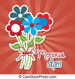 memorial day with flower over red background. vector