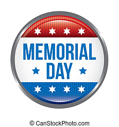memorial day button over white background vector...