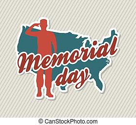 memorial day card over beige background. vector illustration