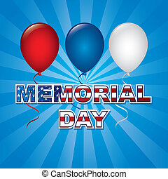 memorial day card over blue background vector illustration
