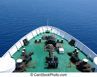 bow of a ship from above - green bow of huge passenger ship...