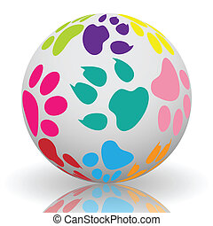 Paw prints on the ball - Illustration of colorful paw prints...