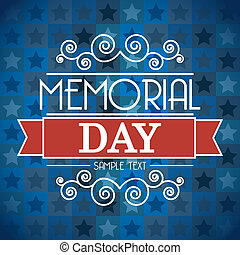 memorial day card over blue background. vector illustration