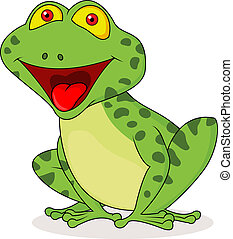 Cute frog cartoon - Vector illustration of Cute frog cartoon...
