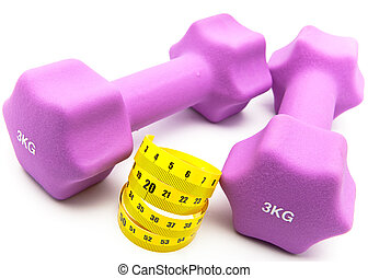 Measuring tape and and Pink dumbbells