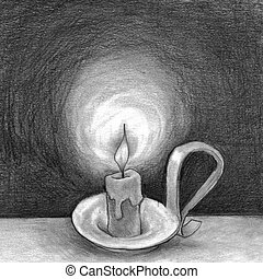 Candle in the Dark - In the dark of night a candle flame...