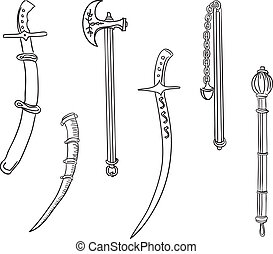 Swords, ax and mace. Set of ancient weapons. Vector...