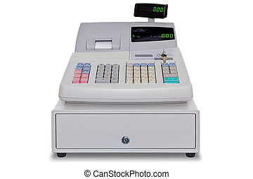 Cash Register isolated with clipping path - Electronic cash...