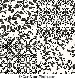 4 Seamless vector Floral Retro Patterns - 4 vector seamless...
