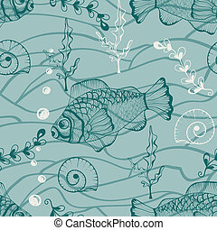 Vector Seamless Underwater Pattern - Vector seamless...