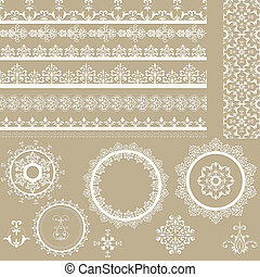 vector Lacy Ribbons, Napkins, and Design Elements - Vector...