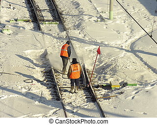 Workers on the railway