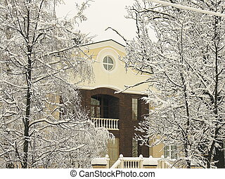Private residence under snow - Close up of a private...