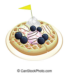 Tradition Waffle with Blueberries and Ice Cream - Freshly...
