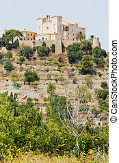Castle in Spain - Historical castle with a church in Arta in...