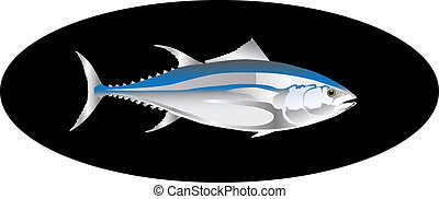 vector tuna fish isolated on black background