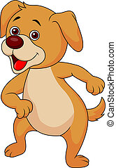 Funny dog cartoon dancing - Vector illustration of Funny dog...