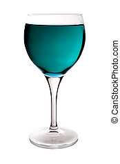 cyan wine glass - beautiful glass filled with cyan water on...