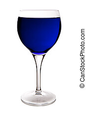 blue wine glass - beautiful glass filled with blue water on...