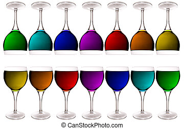 wine glass - glasses filled up with colors on white...