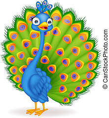 Cute peacock cartoon - Vector illustration of Cute peacock...