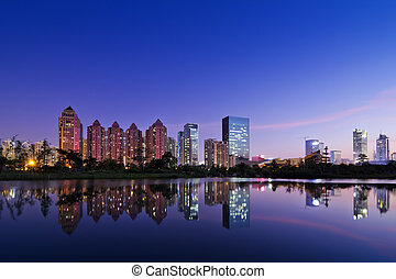 city park - the night view of the shenzhen financial centre...