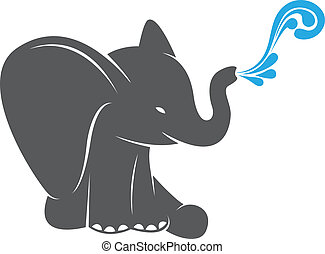 Vector image of an elephant spraying water on a white...