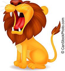Leão, caricatura, Rugindo